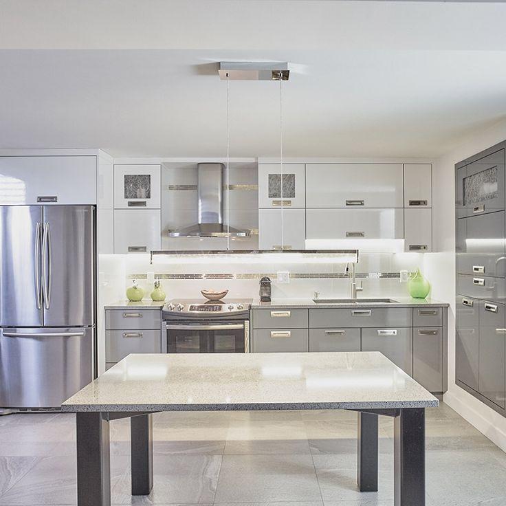 armoires de cuisine en stratifie lustre avec comptoir de quartz ...