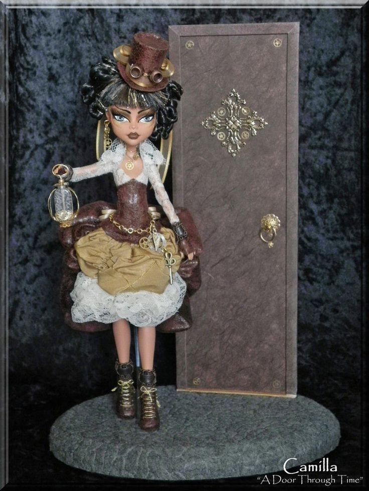 """A Door Through Time""  Stunning Custom OOAK Steampunk Monster High Cleo De Nile   Time Traveler with custom OOAK diorama."