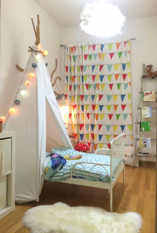The idea of putting the tent over the bed IKEA MINNEN BED FOR BOYS  Kids Room Designs  Kids