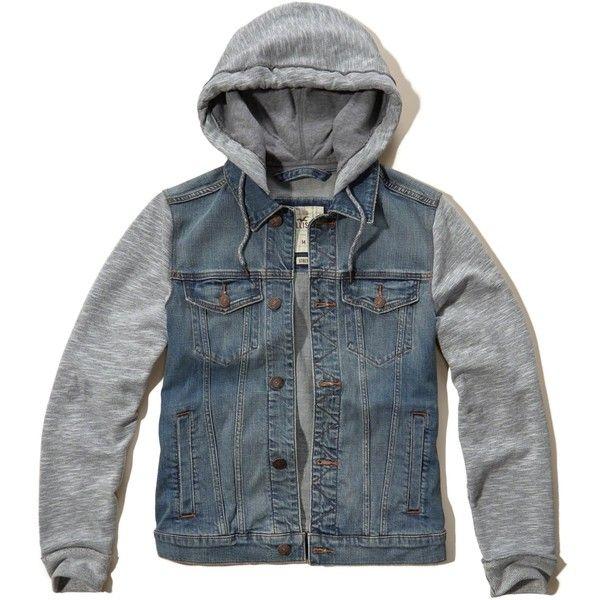 Hollister Denim Twofer Jacket ($90) ❤ liked on Polyvore featuring men's fashion, men's clothing, men's outerwear, men's jackets, medium wash, mens hooded denim jacket, mens denim jacket and mens hooded jackets