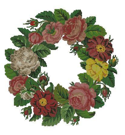 Flower round wreath vintage digital cross stitch by Smilylana