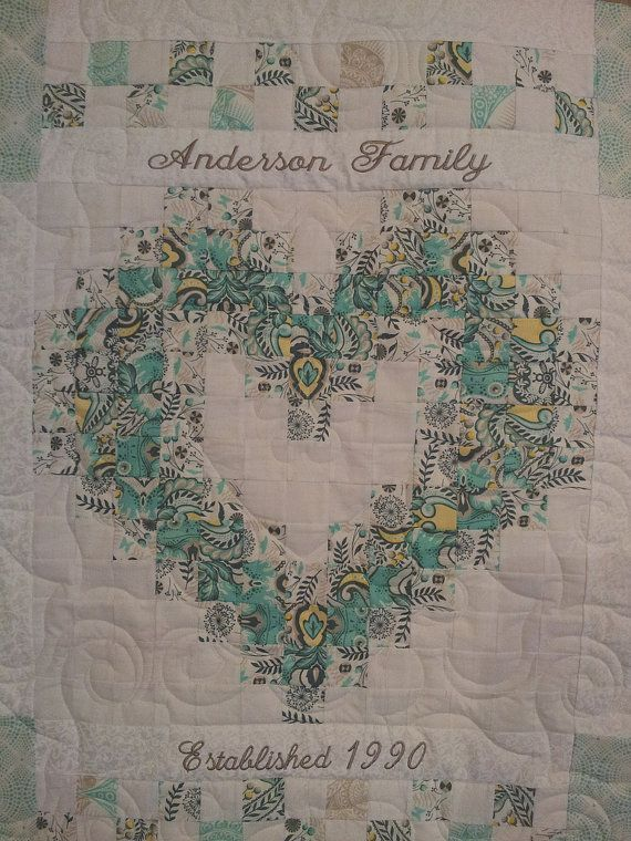 Family heart / wedding quilt by SweetonStitchesEtsy on Etsy, $225.00