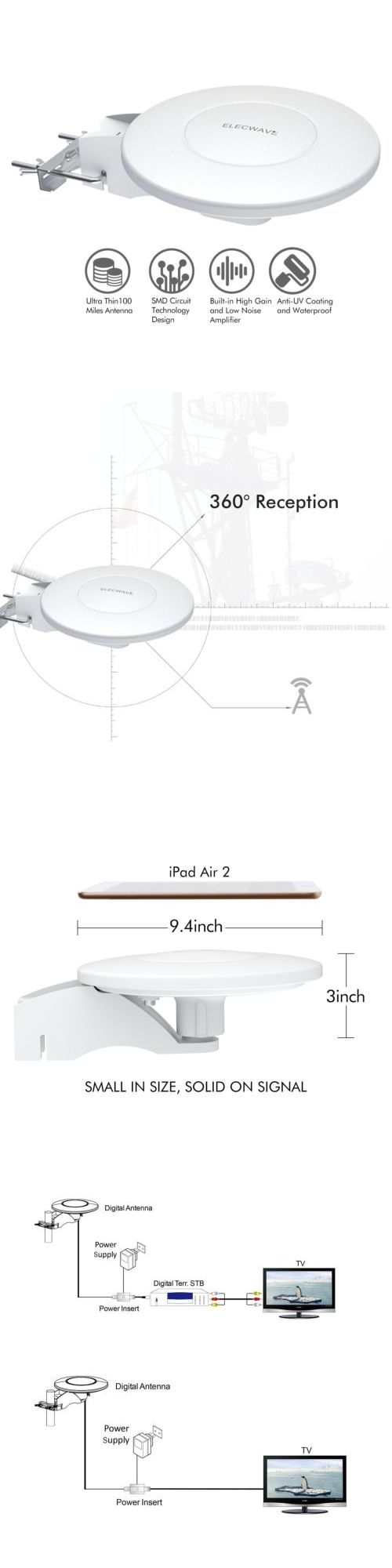Antennas and Dishes: 360º Hdtv Hd Digital 4K Indoor Outdoor Omni All Direction Amplified Tv Antenna -> BUY IT NOW ONLY: $30.58 on eBay!