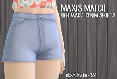 My Sims 4 Blog: Maxis Match High-Waist Denim Shorts for Teen - Eld...