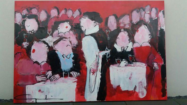 Kunstwerk, origineel, Gerdine Duijsens 120x180 The Restaurant, acryl op linnen. Te koop! #restaurant #keuken