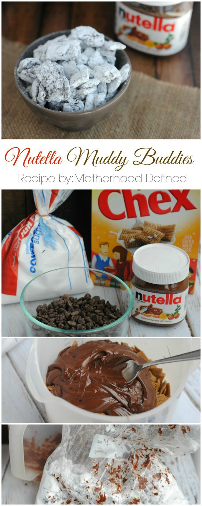 Nutella Muddy Buddies make excellent treats for snack time, sporting events and even giftables!