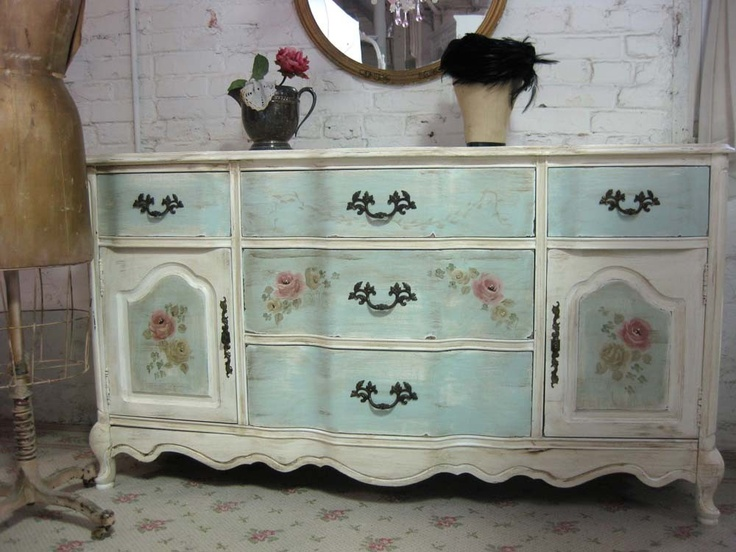 VIntage French Provencal Painted Cottage Server with Hand Painted Roses - 1047 Best Shabby Chic Images On Pinterest Antique Furniture