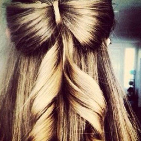 Half up half down hair style with a hair made bow | Hair ...