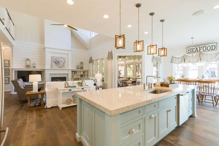 Kitchen and Family Room in 2017 Coastal Virginia Magazine Idea House in Virginia Beach, VA {House of Turquoise}