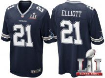 Dallas Cowboys #21 Ezekiel Elliott Navy Blue 2017 Super Bowl 51
