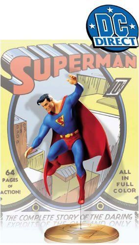 Superman: Cover to Cover Superman #1 Statue by Distributoys.com, Inc.. $119.95. This limited-edition, hand-painted cold-cast porcelain statue measures approximately 7.5-inches tall x 6.5-inches wide 3-inches deep and is packaged in a 4-color box.. The famous cover to Superman #1 by Joe Shuster is an icon on its own, and now its brought to three-dimensional life in this accurately sculpted statue by Tony Cipriano.. This is the first in a series of affordab...