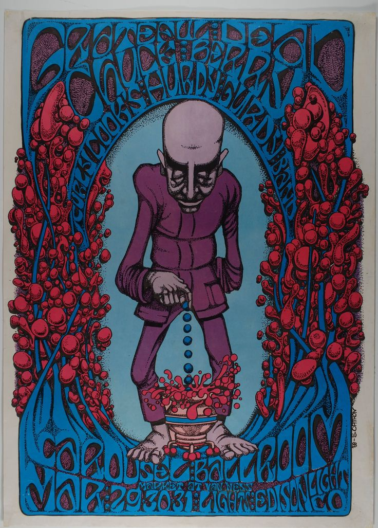 Classic rock concert psychedelic poster concert at the carousel ballroom grateful dead