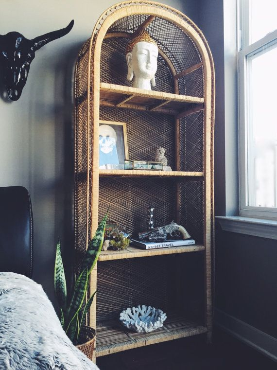 Vintage Rattan Standing Shelf by TresorCru on Etsy