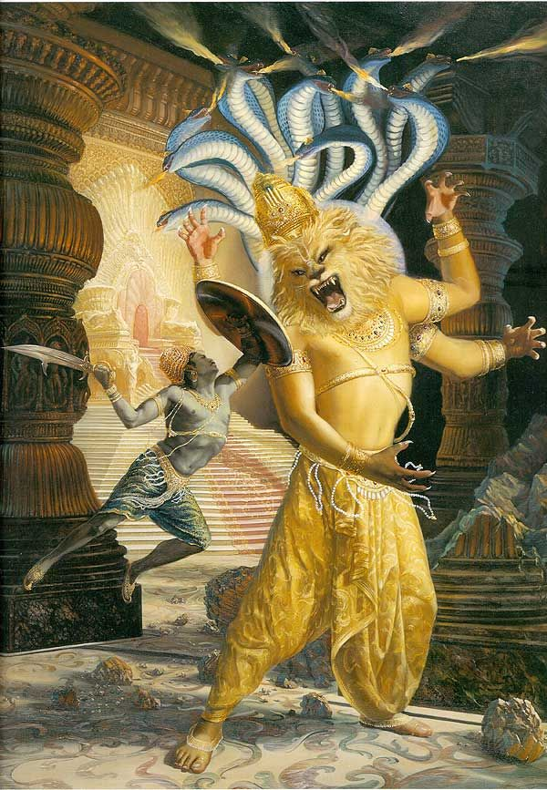 Krishna, in his Narasimha avatar, usually depicted with a lion's head, many arms, a wreath of venomous snakes, and a whole lotta carnage.