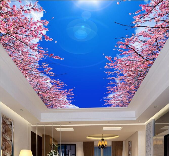 3d room wallpaper custom mural non woven blue sky white for 3d interior wallpaper