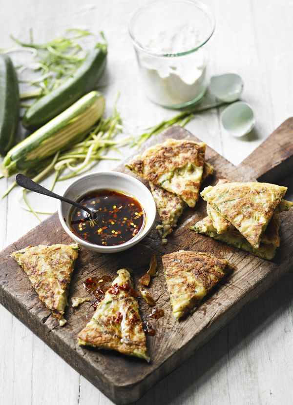 Easy idea for a dinner-party starter. Give a courgette fritter a Korean-style makeover with a delicious Asian ingredient dipping sauce. Makes enough for 4.