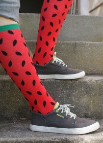 Casual and fun - cool watermelon knee high socks from Socksmith.