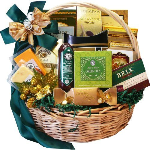 Give a generous helping of the gourmet good life with this traditional basket filled with everyone's favorite chocolates, confections, and sophisticated sn Well Stocked Gourmet Food and Snack Sampler Gift Basket with Smoked Salmon