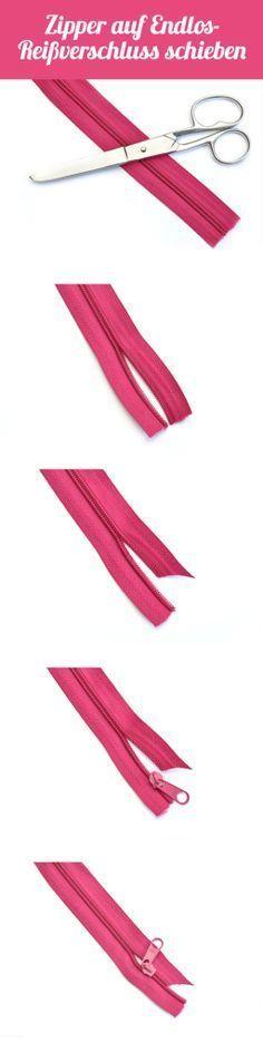 Zipper auf Endlos-Reißverschluss schieben
