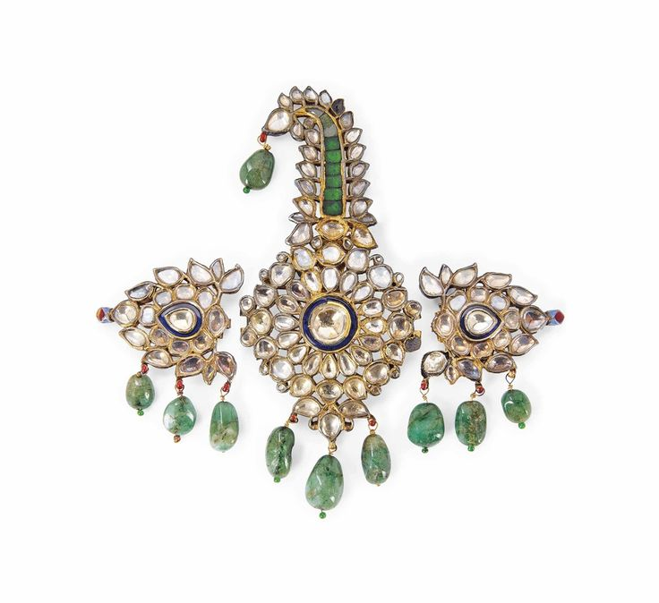A GEMSET ENAMELLED GOLD TURBAN ORNAMENT (SARPECH) - JAIPUR, NORTH INDIA, 19TH CENTURY