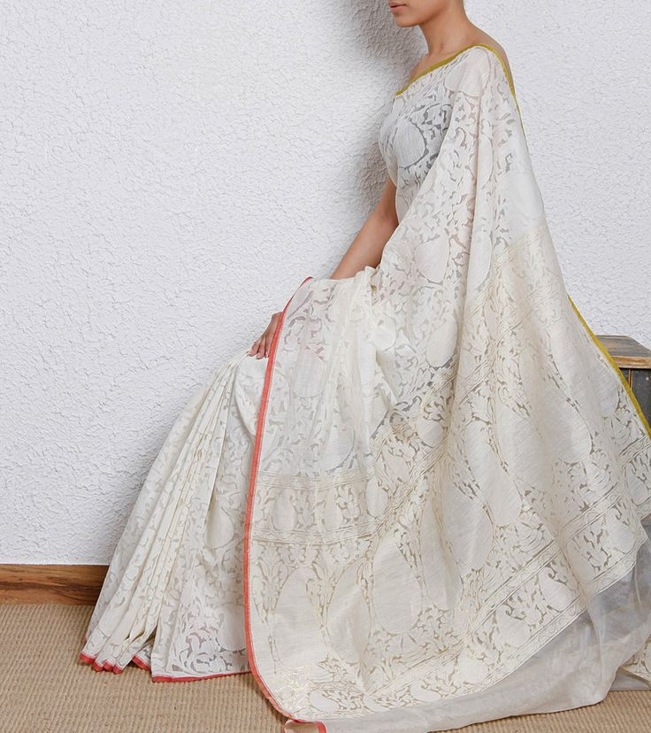 Understated white saree for the Indian Christian bride - a handwoven banarasi kora silk saree