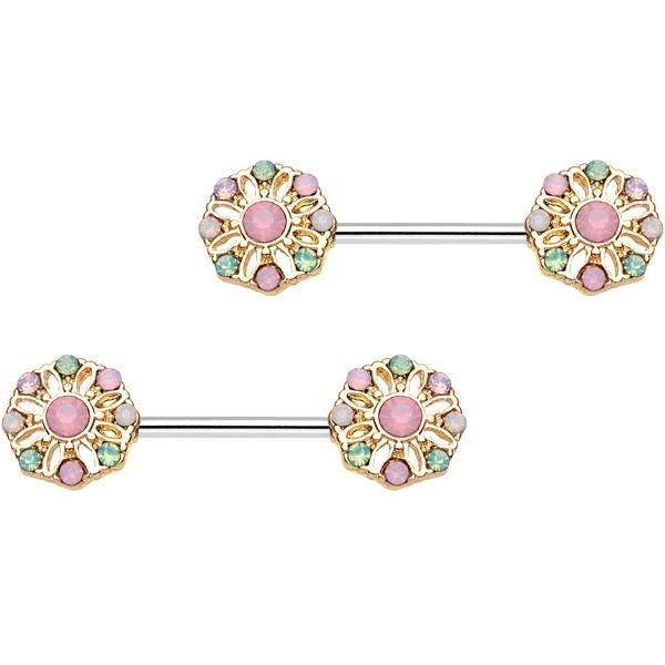 "9/16"" Pink Gem Rounded Flower Barbell Nipple Ring Set"