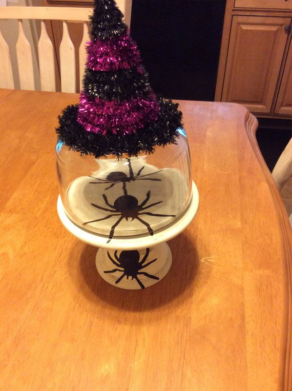 Hand painted halloween cloche/ halloween decor/ by VintageBrowns