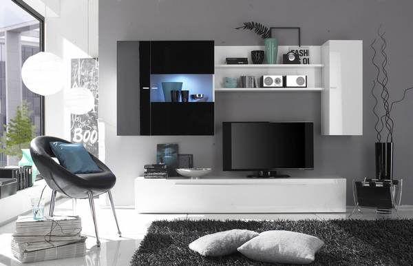 Ensemble meuble TV blanc et noir laqué design OLIVIER