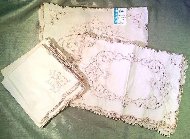 Vintage Linen Ivory Table Runner Placemats Napkins Set of 17 Cutwork Embroidered #Napkins #TablePlacemats & 19 best Vintage Linens images on Pinterest | Vintage linen Bedding ...