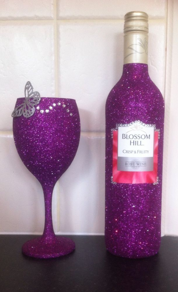 d3a893f26c0 ... about Glitter Wine Glass with Free Decorative Bottle Birthday