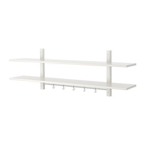 @Ikea $39.99   maybe not this one but possible one like it for either above bench in entryway or for in kitchen (to put cookbooks on and/or things above fridge in a basket)