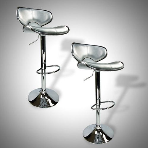 2 NEW Silver Bar Stools Barstools Modern Adjustable Counter Height Swivel Trim