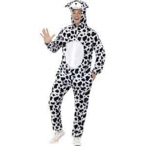 Ce costume de dalmatien pour adulte se compose d'une combinaison à capuche. Il est disponible en tailles M et L. La combinaison en fausse fourrure fine est entièrement tachetée noir et blanc. Une capuche représente la tête de l'animal et possède deux yeux