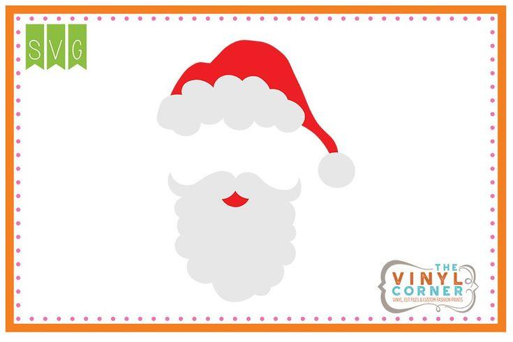 Santa Hat and Beard Blank SVG Clipart Design