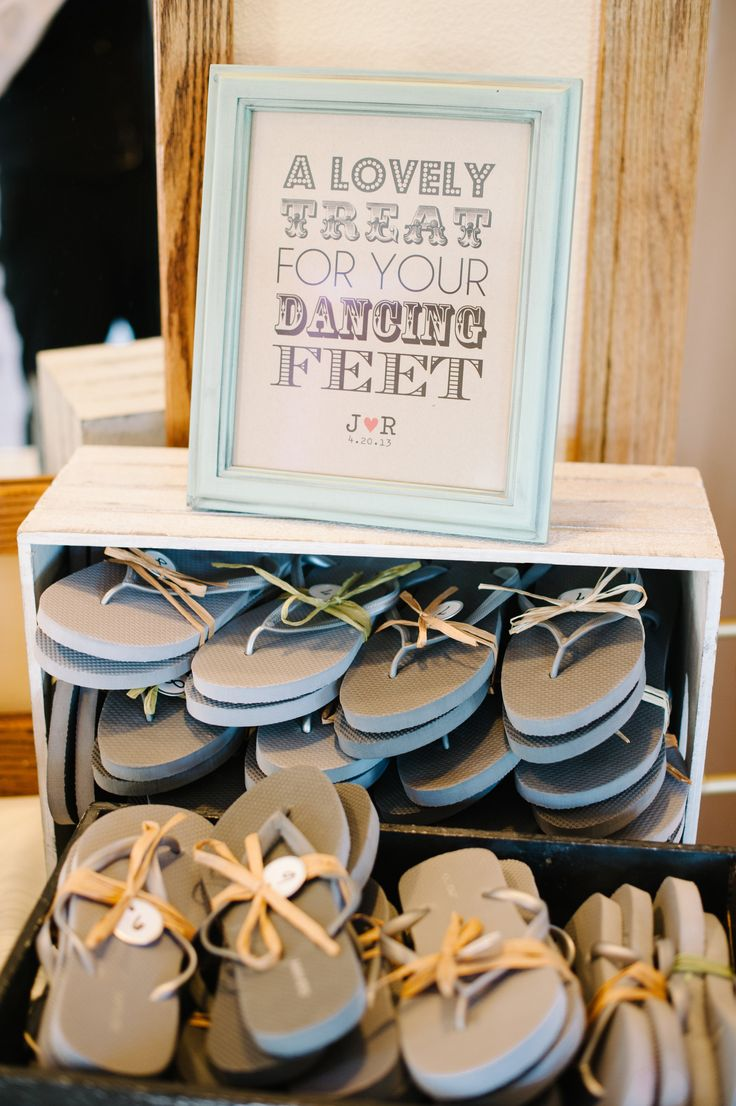 A Lovely Treat for your Dancing Feet, Flip Flops for guests from Old Navy