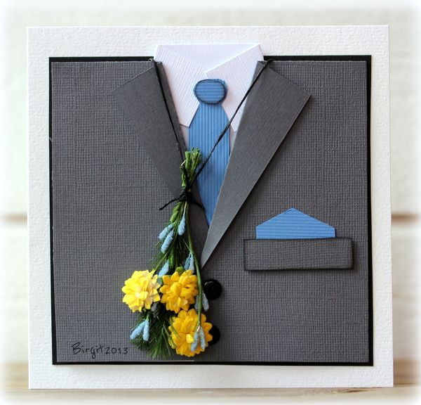 handmade card by Birgit ... shaped as a man's jacket ... gray with blue tie and hankie ... yellow and blue dimensional flowers tied together in a bouquet and hung around the neck ... like this card!
