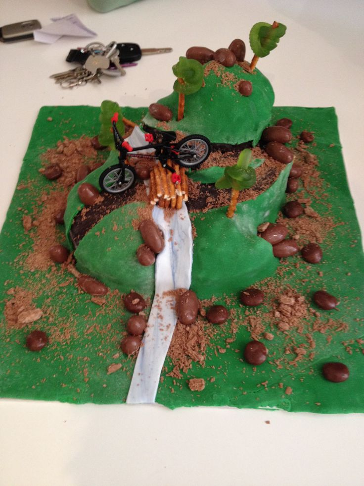 Mountain Biking cake with decorations