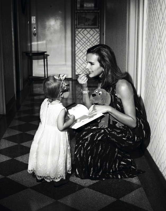"Carole Bouquet & her first granddaughter. ""L'officiel"" magazine."