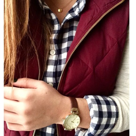 J Crew Excursion Vest This is the Crimson color, a very pretty burgundy. Very good condition. Most people size down for these vests. Cover photo credit: blondemomblogcom                      No Trades J. Crew Jackets & Coats Vests