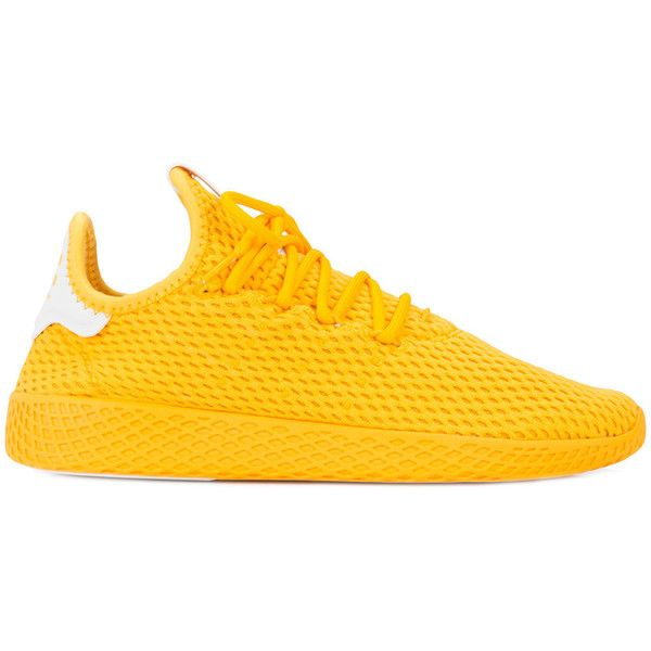 Adidas Originals x Pharrell Williams Tennis Hu sneakers ($85) ❤ liked on Polyvore featuring men's fashion, men's shoes, men's sneakers, mens rubber sole shoes, mens rubber shoes, adidas mens sneakers, mens lace up shoes and adidas mens shoes