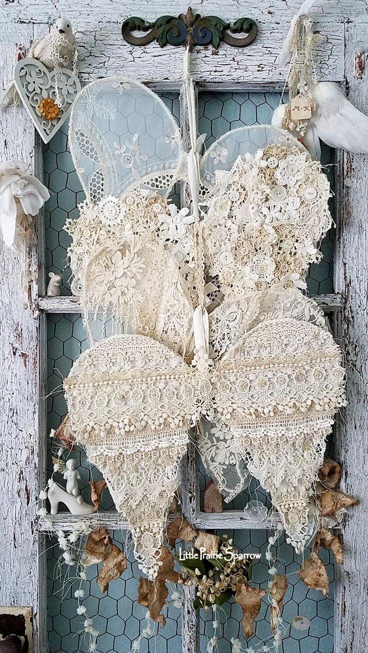 Vintage lace wings, wire wings, Angel wings, lace wings, doily wings, shabby chic decor