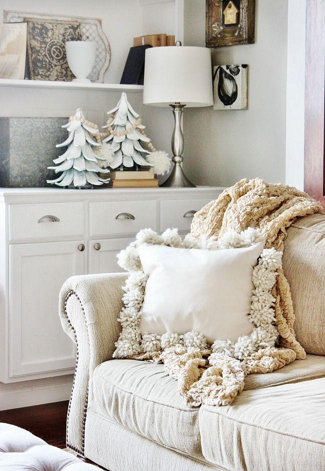 Winter Decorating Idea: DIY Drop Cloth Pom Pom Pillow