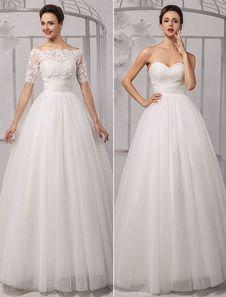 Tull Off-a-ombro casamento vestido de bola com um envoltório do laço