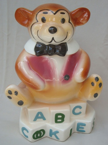 STARNES ABC BEAR COOKIE JAR circa 1950'S California Rare