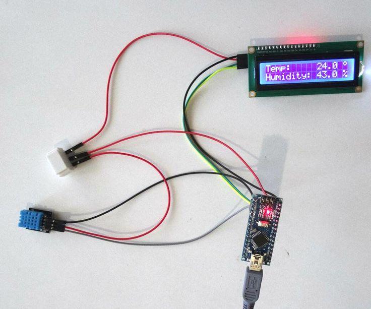 Arduino Nano: DHT11 Temperature an Humidity I2C 2 X 16 LCD Display With Visuino #Arduino #Visuino