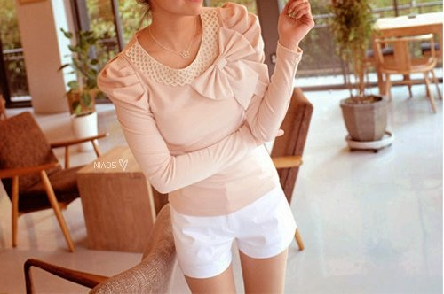: Sweaters, Outfits, Cute Tops, Shirts, Pink Tops, Pink Ribbons, Pale Pink, Shorts, Big Bows