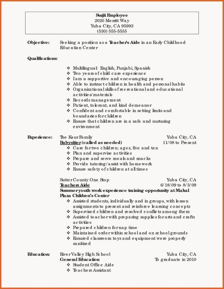 Babysitter Synonym For Resume Lovely Babysitter Synonym For Resume Inspirational Inspirational In 2020 Teacher Resume Examples Education Resume Teacher Resume