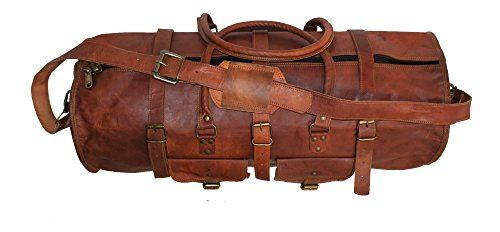 Hlc 24 LEATHER DUFFEL VINTAGE TRAVEL BAG MENS HAND LUGGAGE WEEKEND HOLDALL GYM DUFFLE ** You can get more details by clicking on the image.