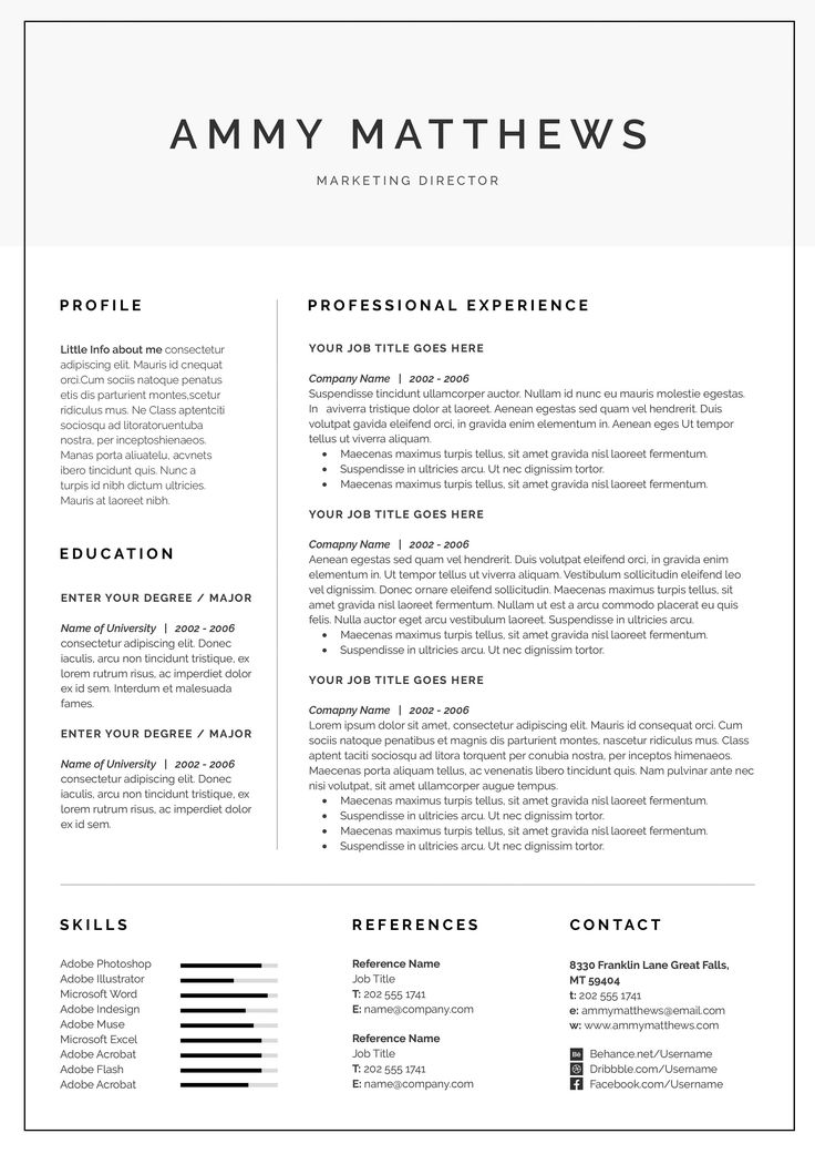 Adobe Resume Template Free Page Indesign Resume Template Free Page