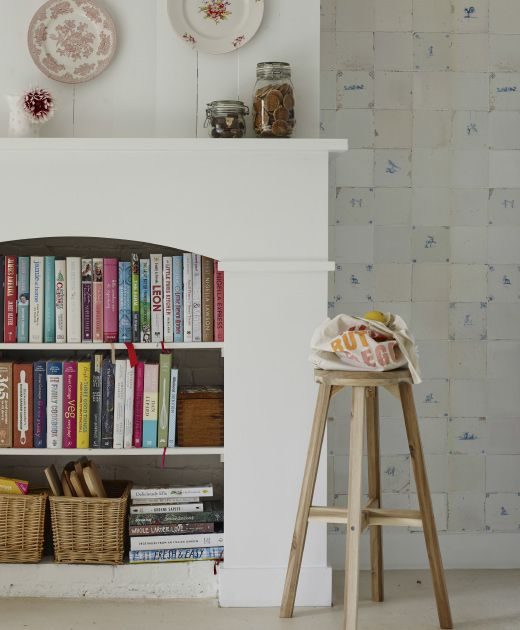 shelves: hearth of an abandoned fireplace is perfect for books--nice in kitchen for cookbooks
